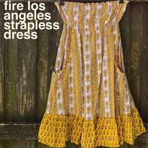 🔥Fire Los Angeles Strapless Boho Dress